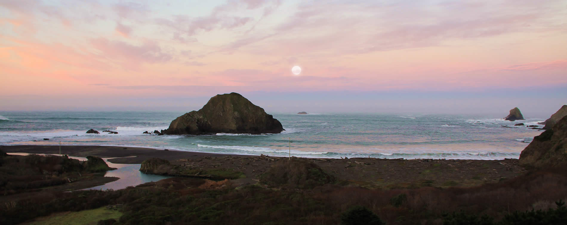 sunset along the mendocino coast of california